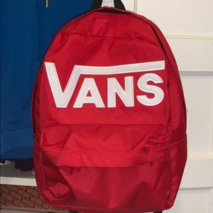Red vans bookbag with white letters